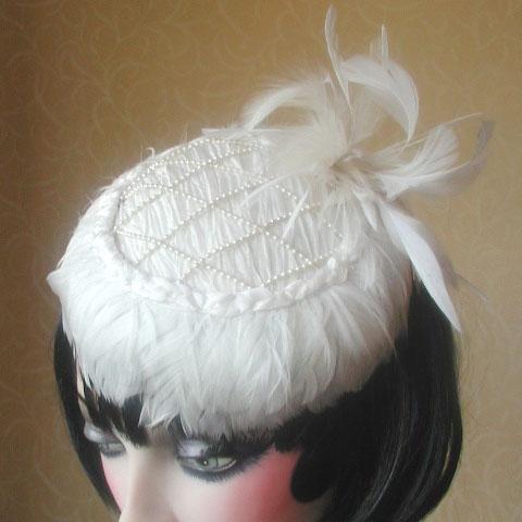White Fascinator Odette Angle