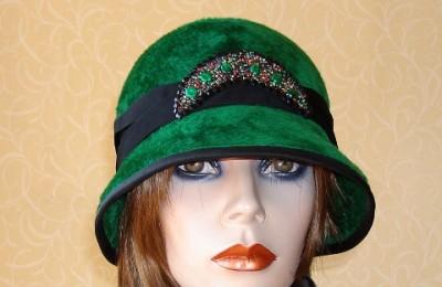 Green Felt Hat Cora Brim Down