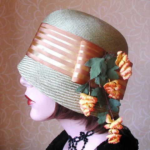 Gold Ribbon Straw Hat Erica Detail