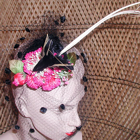 Pink flower fascinator top