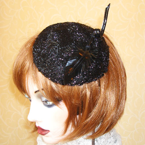 Black cocktail hat