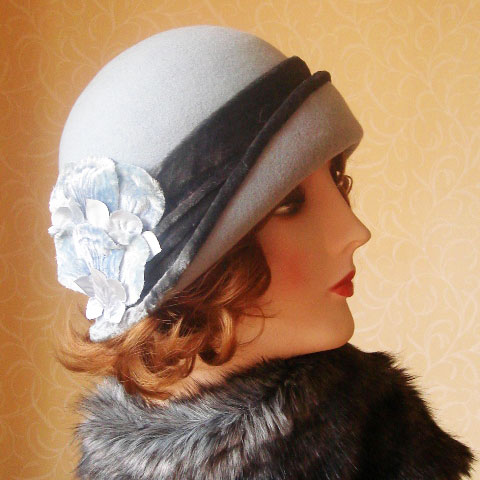 Grey blue felt hat