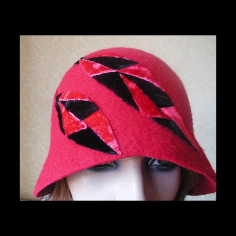 Red & black felt hat detail