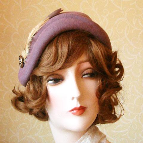Heather felt hat front