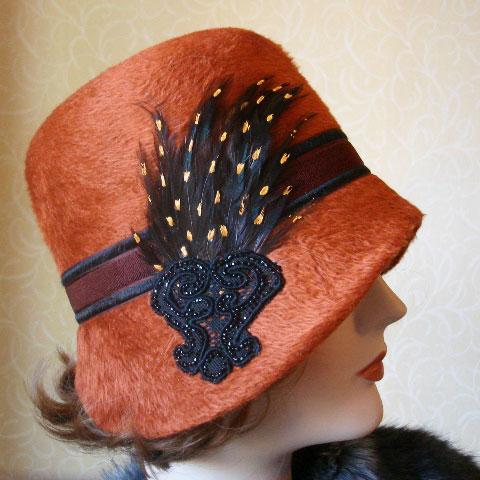 Terracotta felt hat detail