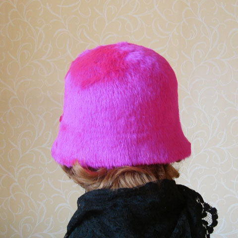 Bright pink cloche back