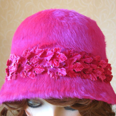 Bright pink cloche detail