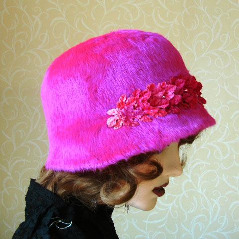 Bright pink cloche side