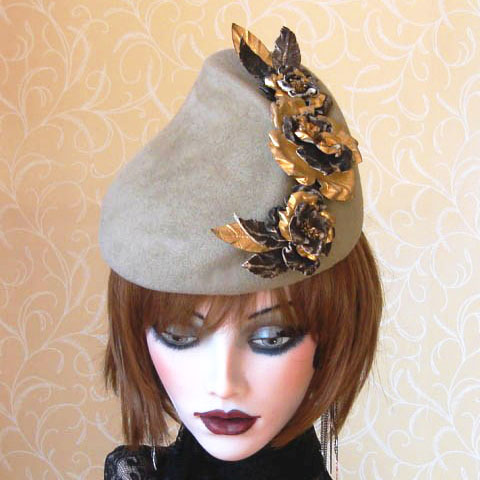 Taupe felt hat top