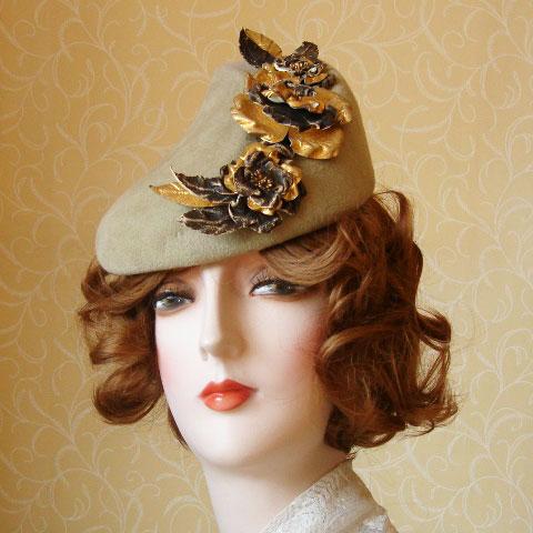 Taupe felt hat