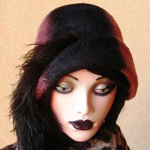 Two tone felt hat front
