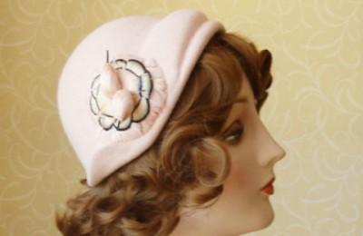 Pale pink half hat