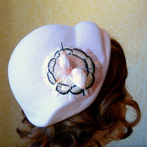 Pale pink half hat detail