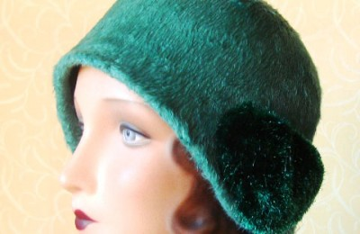 Green cloche hat