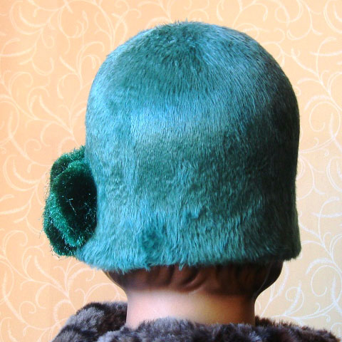 Green cloche hat back