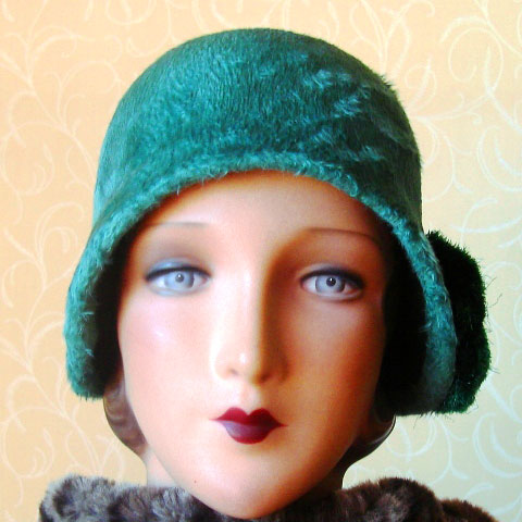 Green cloche hat front