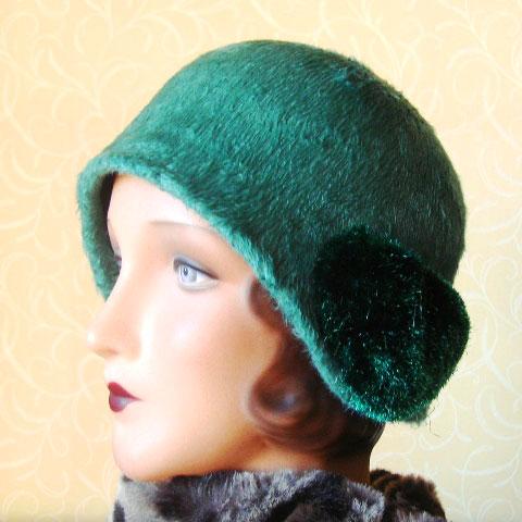 Green cloche hat