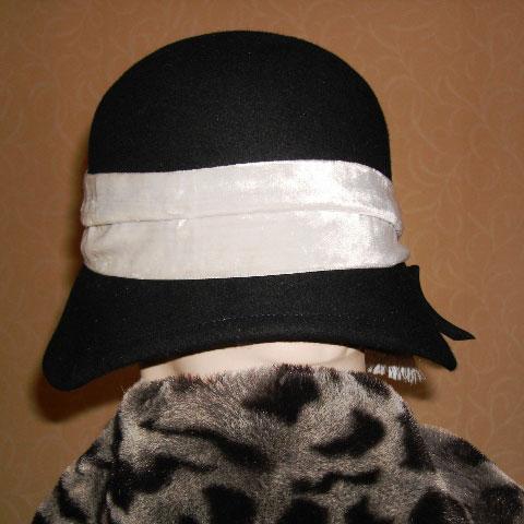 Black cloche hat back