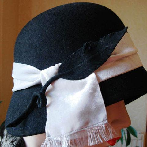 Black cloche hat detail