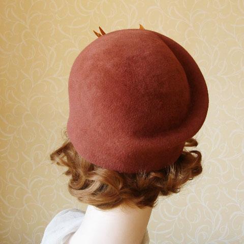Brown felt hat back