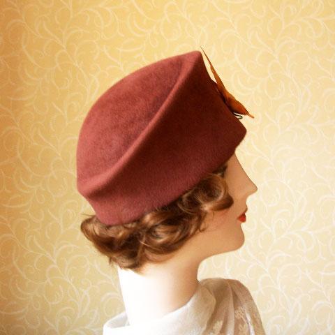Brown felt hat side