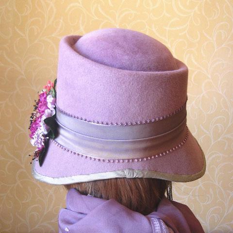 Lilac felt hat back