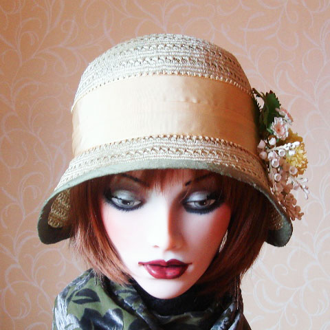Light green straw hat front