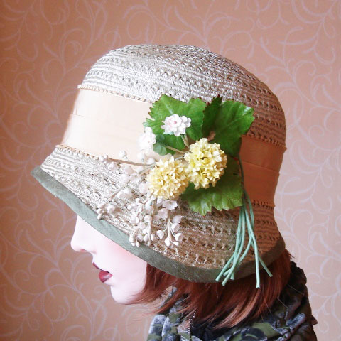 Light green straw hat side