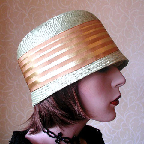 Gold Ribbon Straw Hat Erica Side