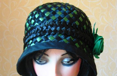Emerald green straw hat