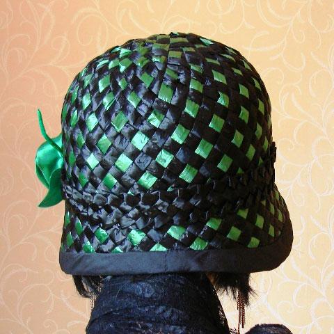 Emerald green straw hat back