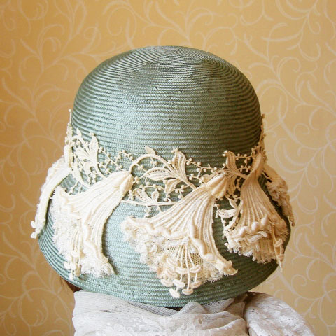 Pale green straw hat back