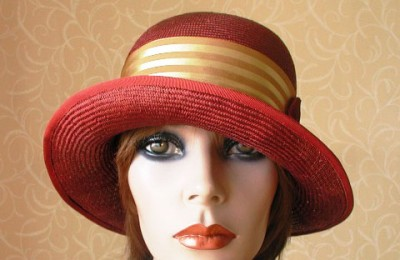 Red straw cloche hat